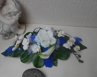 40cm table centerpiece - blue Royal and Navy Blue - artificial flowers