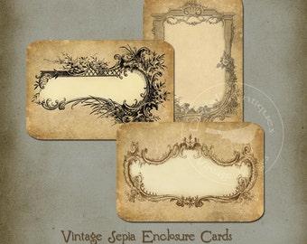 Vintage Sepia Enclosure Cards Instant Digital Download