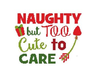 Naughty But Too Cute To Care  Counted Cross Stitch PDF Pattern