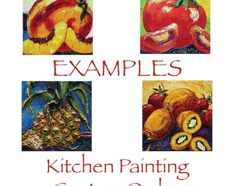 Kitchen Custom Order for 12x12 Original Impasto Oil Painting by Paris Wyatt Llanso