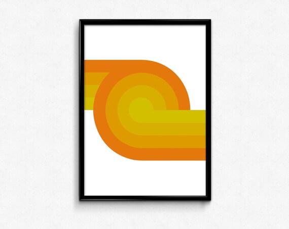 Mid Century modern art Yellow Print Geometric Art Print