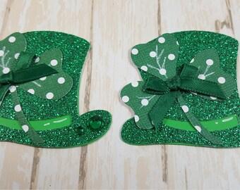 2 St Patricks Day Top hat, Die cuts, Scrapbook Embellishment, Card Topper