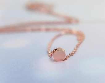 Floating dot necklace, rose gold circle necklace, minimal layered necklace, layering necklace, floating dot necklace, rose gold dot necklace