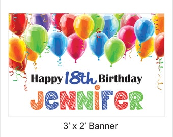 Happy Birthday Banner - Personalized - Colorful Birthday Decorations - Balloons - Custom Banner - Colorful Banner