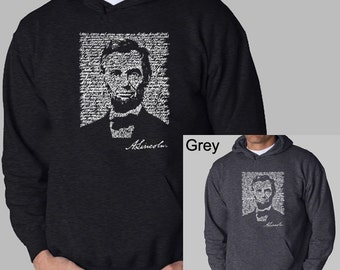 Men's Hooded Sweatshirt - Abraham Lincoln Created out of the Entire Gettysburg Address.