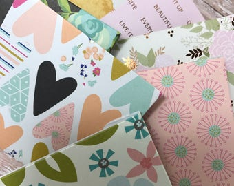 Assorted color 3x3 mini note card and envelope set of 12