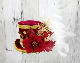 Red, Gold, and White Poinsettia Medium Mini Top Hat Fascinator, Alice in Wonderland, Mad Hatter Tea Party, Derby Hat