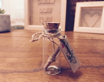 I love you. Key to my heart. Message in a Bottle.