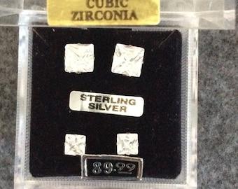 Princess cut Sterling Silver Earring Set Post Backs 7,5mm