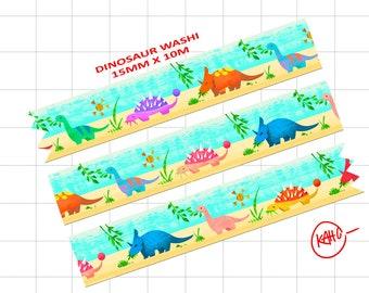 Dinosaur washi tape stegosaurus brontosaurus  triceratops stationary tape cute lizard