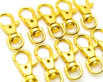 100pcs Gold Metal Lanyard Hook Swivel Snap For Paracord Lobster Clasp Clips 1.5""