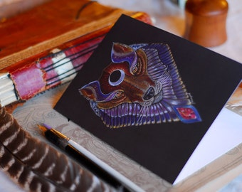 Wolf Greeting Card, Wolf Totem Greeting Card, Wolf Spirit Animal Greeting Card, Wolf Stationary, Magic Wolf card, Boho card