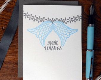 letterpress best wishes greeting card honeycomb bells garland wedding, wedding shower, anniversary