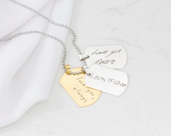 Signature Dogtag Necklace • Your Actual Handwriting Dog Tag • Engraved Handwriting Jewelry • Personalized Gift • MOTHER'S GIFT NM25