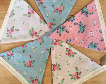 Pink, White and Blue floral bespoke bunting
