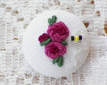 Handmade Embroidered Dark Pink Roses Button / Embellishment / Embroidery, Glass Bead Bumblebee / Bee, Signed Studio Button, Sequin Wings
