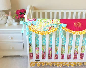 Crib Bedding, Pink Crib Bedding, Bumperless Crib Bedding, Mint Baby Bedding, Baby Bedding, Yellow Baby Bedding, Sujata Crib Bedding Set