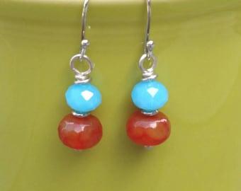 Orange and Blue Dangle Earrings