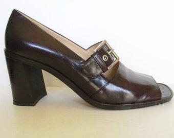 Enzo Angiolini Brown Leather Peep Toe Heels (9 N)
