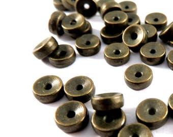25 Flat Spacer Bead Antique Bronze Double Sided 5mm Tibetan Style LF/NF 1mm hole - 25 pc - M7036-AB25