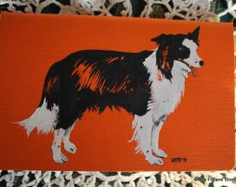 Border Collie Dog - Hand Illustrated Pocket Sketchbook / Notebook / Journal