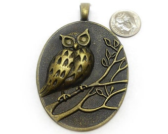 Large Bronze Owl Pendant 69x48MM