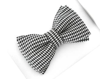 Black and White Bow Tie, Houndstooth Pattern Bow Tie, Black and White Men Bow Tie, Ring Bearer Bow Tie, Boys Bow Tie, Prom Bow Tie, Clip On
