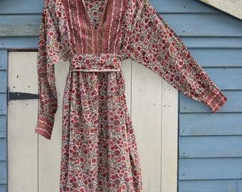 Phool Indian cotton block print dress Gypsy Festival dress boho hippy block print dress s m Uk  12 10  US  8  6  ethnic  dress