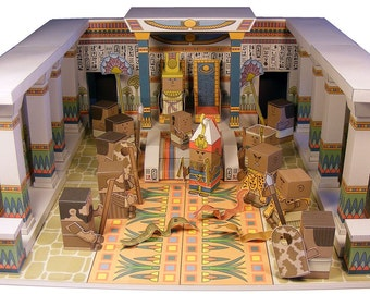 Bible MiniWorld Paper Toys - Moses Confronts Pharaoh - Cut, assemble and play. Instant download