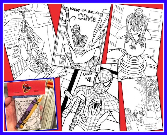 Spiderman Personalized Coloring Book Emailed As A PDF