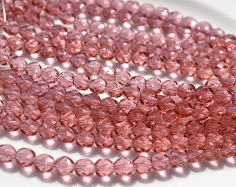 French Rose 6mm Faceted Fire Polish Round Czech Glass Beads  25