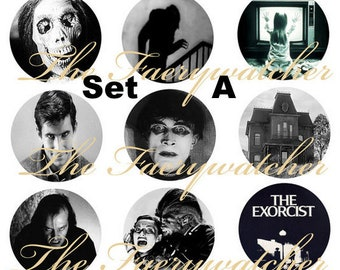 "Classic Horror Magnets, Pins or Flat Back Buttons, 1 inch, 1.25 inch, 2.25"" inch, Different Designs Available, Choose your Set,"