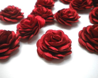 Christmas Gift  6 pc Satin Red  Roses Pin Brooch Hat Hair Accessory Baby Girls Bow Headband Quilting