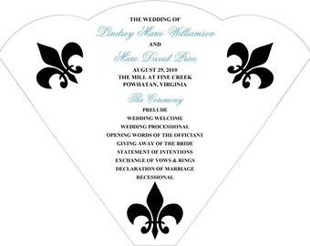 SET OF 25+  Fleur de Lis Variations Wedding Fan custom colors available