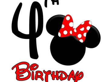 Minnie Mouse Birthday Shirt (Age 4)