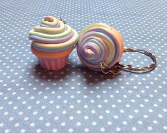 Polymer Clay Pastel Rainbow Cupcake Keychain