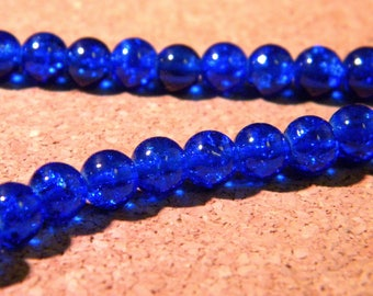 130 royal PE278 3 6 mm - blue Crackle glass beads