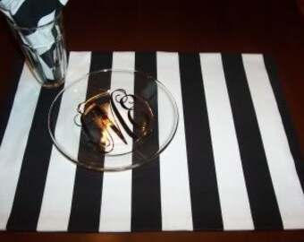 Custom Placemat Set of 4 in Canopy Black and White Stripe