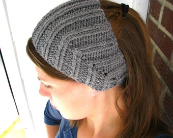 Grey Knit Ear Warmer Headband Button Closure Lightweight One Size Fits Most Women Fall Autumn Winter Homestead Farm Hiking Runner Accessory