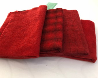 Hand dyed 100 percent red wool fabric - rug hooking - penny rug - appliqué - Tomato Sauce color - Natural - Oatmeal - grey over dyed plaid
