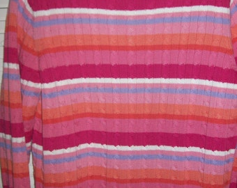 Vintage Lauren Ralph Lauren Pink and Orange Cotton Ribbed Cable Pullover Sweater XL