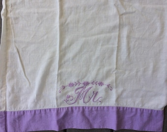 Vintage MR Embroidered Pillowcase