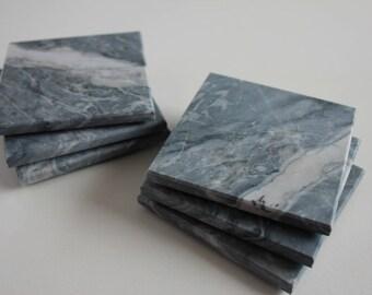 Stone Coasters Set Of Six From Natural Marble Stone Carrara Gray