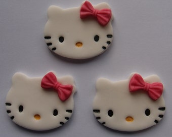 Hello Kitty Fondant Cupcake Toppers - Edible Hello Kitty Birthday Party Cake Toppers