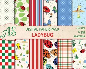 Digital Ladybugs Paper Pack, 12 printable Seamless scrapbooking papers, ladybug Digital Collage, kids pattern, Instant Download, set 293