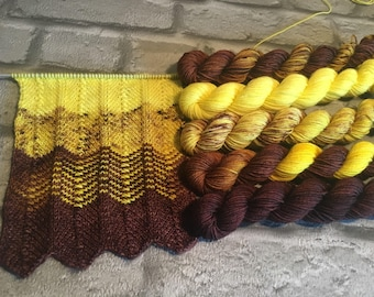 Yellow/Brown Indie hand dyed mini skein pack