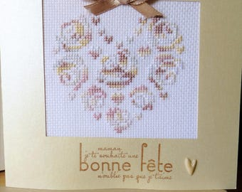 Hand embroidered card: heart with beige roses for mother's day