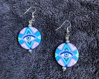Pastel Eyes ~ hand painted dangley earrings