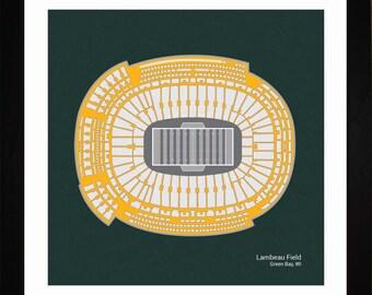 Lambeau Field, Green Bay Packers, Stadium, Seating Art Print, Football Gift, SGBYF1616