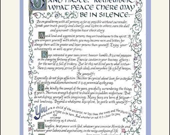 Desiderata Hand Lettered, matted print. Author: M.Ehrmann Exquisite Celtic and Italic Calligraphy FREE US Shipping!
